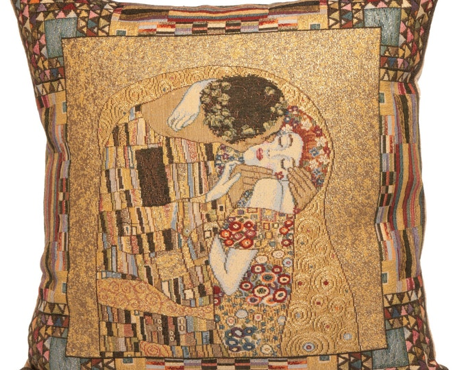 Featured listing image: Klimt Pillow Cover - Gustav Klimt The Kiss Pillow - Gustav Klimt Gift - 18x18 belgian tapestry throw pillow - Klimt cushion cover