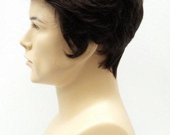 Men's Dark Brown Pompadour Style Wig. Short Synthetic Fashion Wig. [65-340-Danny-4]