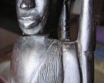 """East African Ebony Sculpture - Masai Warrior with spear - Hand Carved, 14"""""""