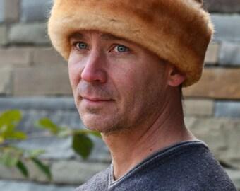Caryn's Hat - Stony -  Men's Shearling Sheepskin Fur Brown Tan