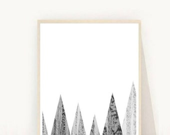 Abstract Geometric Print, Printable Art, Grey Mountains,  Geometric Art Print, Triangle Wall Print, Textured Print, Wall Art, Minimalist Art