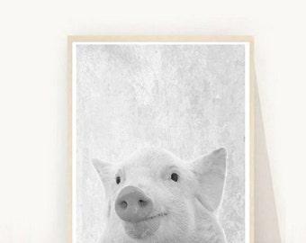 Pig Print, Pig Photo, Printable Art, Pig Wall Art, Farm Animals, Black And White Pig, Art Print, Textured, Wall Decor,  Digital  Download