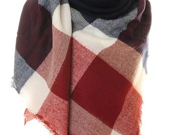 Blanket Scarf / Plaid Scarf / Oversized Scarf / Chunky Scarf / Fall Scarf / Winter Scarf / Shawl Wrap (S-160)