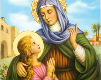 "Saint Anne with the Blessed Virgin Mary Catholic Art Print Picture - 7 1/2"" x 10"" ready to frame!"