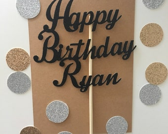 Personalized Glitter Happy Birthday Name Cake Topper, Custom Cake Topper, Name cake, Glitter Name Toppers, Personalized Cake, Happy Birthday