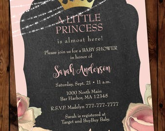 Little Princess Baby Shower Invitation, Princess Baby Shower Invitation, Tiara Baby Shower Invitation, Pink Baby Shower Invitation