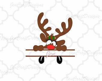 Girl Peeking Split Monogram Svg, Christmas Peeping Reindeer SVG,EPS Png Dxf,digital download files for Silhouette Cricut