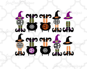 Halloween Design Witch Legs in Cauldron Monogram Frame Digital Clipart and Cut File Png SVG EPS DXF Instant Download