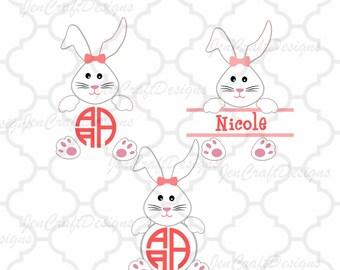 Bunny Girl Easter SVG Rabbit Monogram Frames Svg, Easter basket Monogram SVG,EPS,Dxf,digital download files Silhouette Cricut
