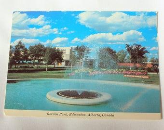 Borden Park Edmonton Alberta Postcard / Fountain Postcard / vintage Edmonton Souvenir / Majestic Postcard