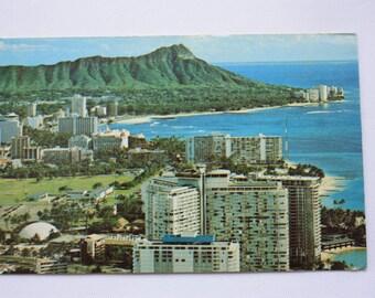 Waikiki Beach and Diamond Head Hawaii Postcard  / Waikiki Beach Postcard /Diamond Head Postcard / Nan Li'l Postcard