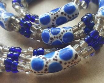 Vintage Demi Parure Ceramic Porcelain & Glass Blue and White Necklace and Bracelet set.