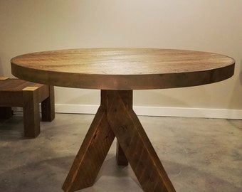 Gorgeous Reclaimed Wood Dining Table with Heavy Copper Finished Steel Band From Century Old Barn Timbers