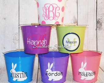Personalized Easter Bucket ~ Monogrammed Easter Bucket ~ Easter Basket ~ Kids Easter Basket Monogram