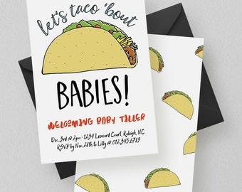 Taco Invite | Taco Baby Shower, Taco Birthday, Fiesta, Taco 'Bout, Multicolor, Modern, Taco Party Invitation