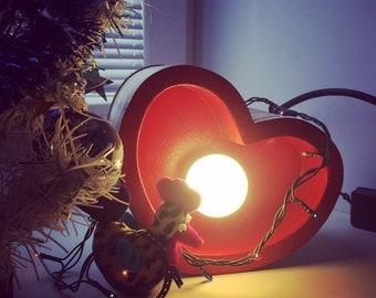 Wooden heart light lamp