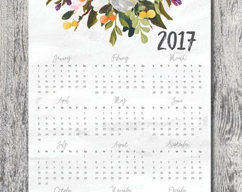 Printable calendar 2017 wall art floral painted design DIGITAL DOWNLOAD