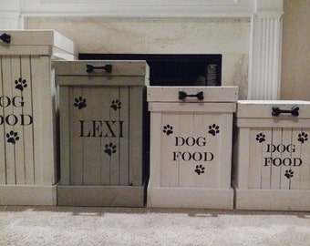 Wood Pet Food Container- Pet Food Storage- Dog Food Container- Dog Food Storage- Rustic Dog Food Storage- White Wash- Doggy- Animal Lover