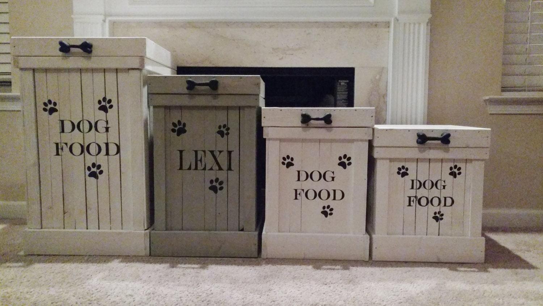 Wood Pet Food Container- Pet Food Storage- Dog Food Container- Dog Food  Storage