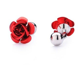 Kentucky derby rose cufflinks, rose cufflinks, roses, Kentucky derby jewelry, Kentucky derby cufflinks, red rose jewelry, red roses, flowers