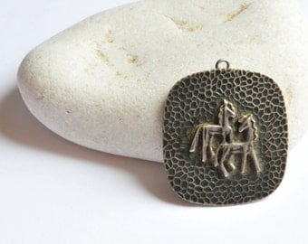 Vintage Horse Pendant, Large Metal Horse Pendant, Two Horses Pendant, Horse Jewelry, CAS73