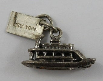 Riverboat With New York Tag Sterling Silver Vintage Charm For Bracelet