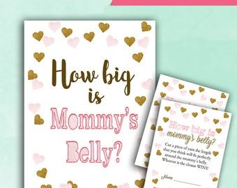 Baby Shower Game How Big is Mommy's Belly - PINK and GOLD - Printable Digital Instant Download - cards and sign Confetti Baby GIRL Shower