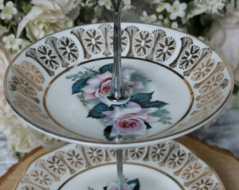 Small Vintage Crockery Afternoon Tea Stand - Chocolate Stand - Jewellery Stand -