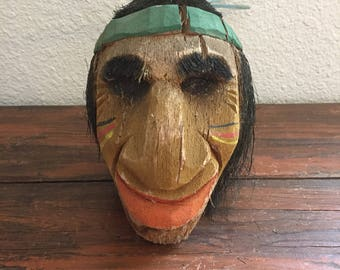 Vintage Carved Coconut Head / Shrunken Head / Vintage Souvenir