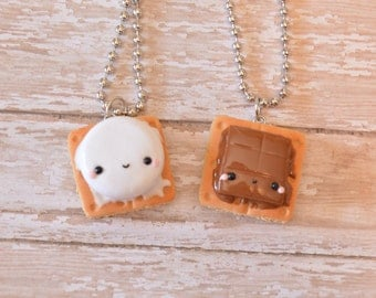 S'mores Best Friend Necklace Set, BFF Necklace, Kawaii Charm, Food Jewelry, Best Friend Gift, Smores Charm, Smores Necklace, Kawaii Food