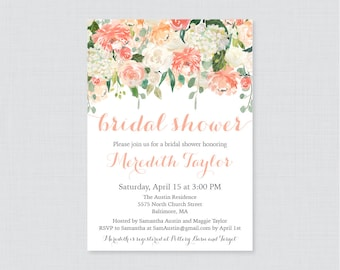 Peach Bridal Shower Invitation Printable or Printed - Peach, Cream, and Green Floral Bridal Shower Invites, Garden Bridal Shower Invite 0028
