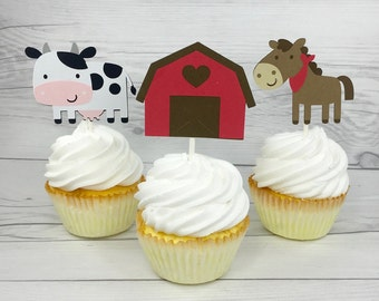 Set of 12 Farm Animal Cupcake Toppers / Paper Farm Cupcake Topper Barnyard Animal Cupcake Topper Barnyard Cupcake Topper Farm Baby Shower