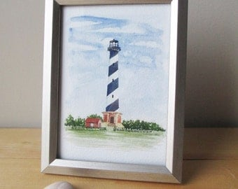 Cape Hatteras Lighthouse Print 5x7 | Fine Art Print | Hand Painted | Watercolor Print