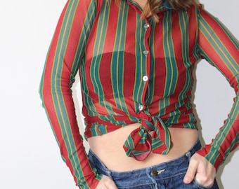 Soccer / shirt JEAN PAUL GAULTIER / collar Polo / mesh striped red green yellow Turquoise / Made In Italy / 90's