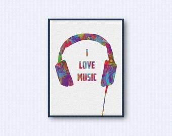 Headphone Watercolor Poster