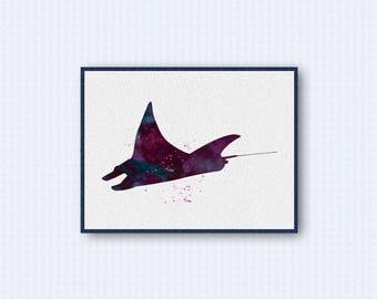 Manta Ray Watercolor Poster