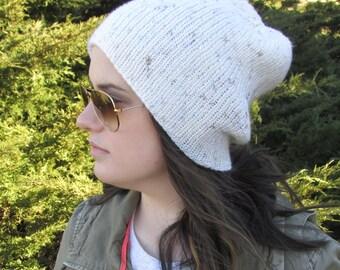 Knit Hat, Slouchy Hat, Slouchy Beanie, Snowboard Hat, Boyfriend Hat, White Hat, Tight Knit Hat, Gift for Her