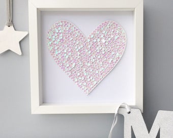 Neutral nursery art, heart wall art, heart frame, baby shower gift, heart decor, gender neutral baby, heart art, home decor, wall art