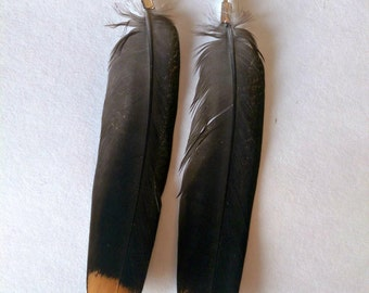 Real feather earrings, Orange & Black feather earrings, Natural feather earrings, Tribal feather earrings,