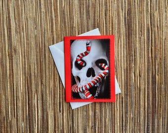 Skull & Snake - hand made upcycled card