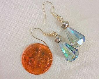 Crystal Silver Dangle Beaded Earrings