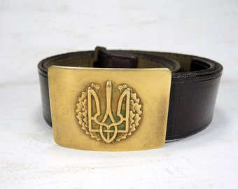 Vintage Military Belt with brass Buckle - Ukrainian Army Belt - Vintage Military Belt