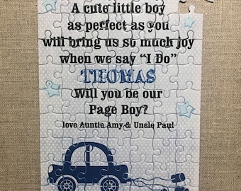 Will you be our Page Boy Ring Bearer Personalised Jigsaw Gift Puzzle W300