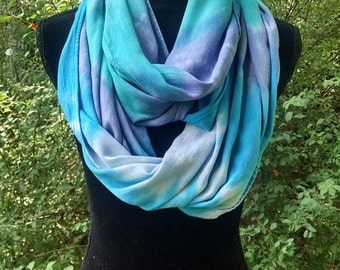 Tie-dyed Aqua Lavender Circular Infinity Scarf