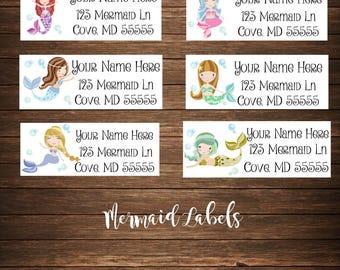 Mermaids Address Labels, Under the Sea Address Labels, Mailing Labels