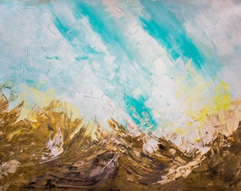Desert painting, sky painting, abstract nature painting, Large landscape painting, Abstract landscape painting, wall art for bedroom