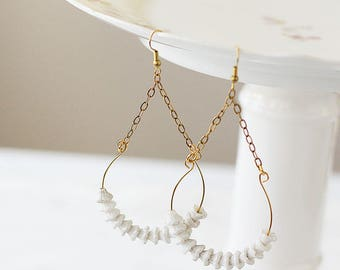 Hoop Earrings - Lightweight Earrings - White Beaded Earrings -  Dangle Earrings for Mom - Statement Earrings for Her - Gift for Her Under 25