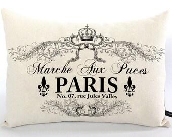 French Paris Flea Market pillow cover 12x16 cotton canvas farmhouse cottage decor cushion #223 FlossieandRay