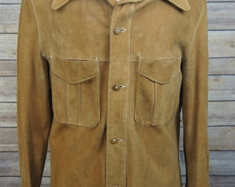 Vintage Suede Buckskin Leather Rugged Hippie Shirt-Jac Wood Buttons Small
