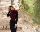 Blanket scarf, chunky wrap, burgundy red, hand knit, alpaca infinity scarf, wool bulky cowl, womens warm knit, winter accessory, oversized